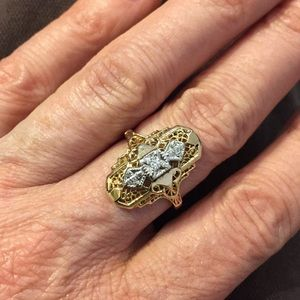 🎊🌟💕14k filigree Diamond ring💕🌟🎉